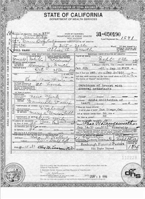 San Diego County Records Office Birth Certificate Genea Musings Treasure Chest Thursday Abbie Smith S