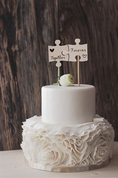 Handmade Cake Topper - wedding cake flags wood burned puzzle pieces best day