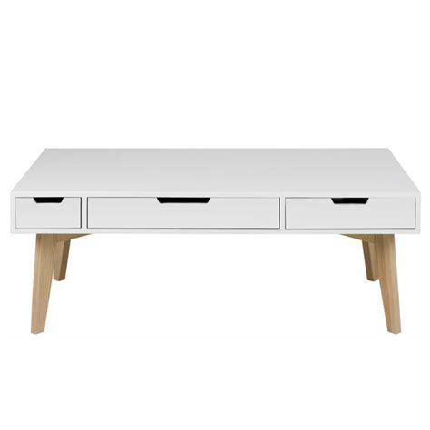 table basse moderne blanche et ch 234 ne 224 3 tiroirs en bois