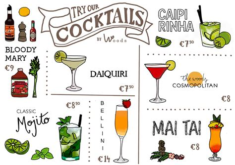 cocktail drinks menu food drinks englisch