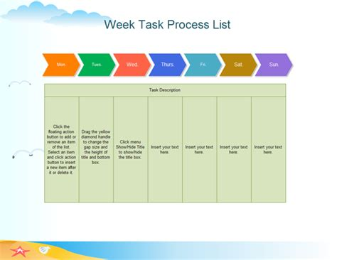 task flow chart templates exle of week task process list