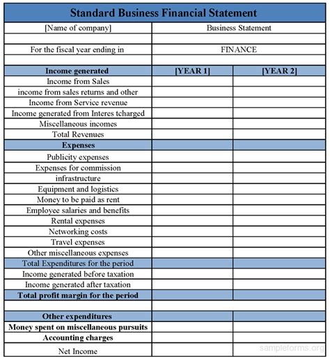 business financial statement template standard business financial statement form sle forms