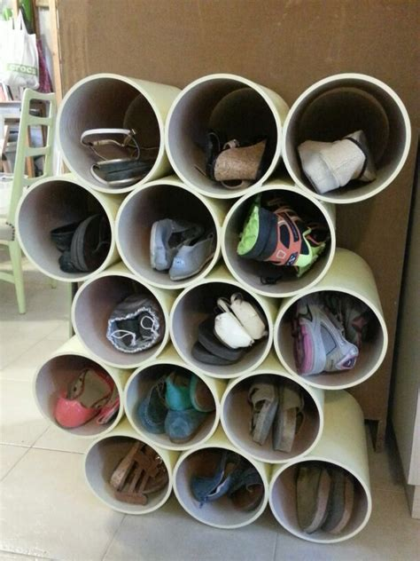 pvc pipe shoe storage diy best 25 pvc pipe storage ideas on pvc storage