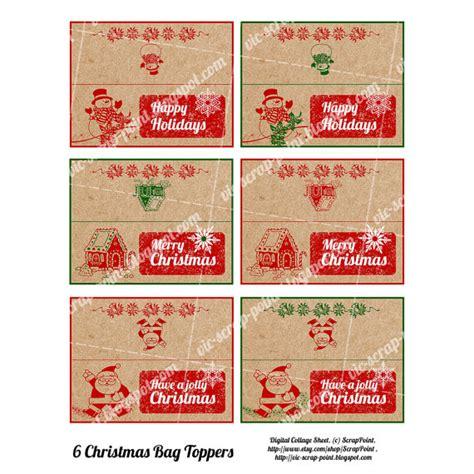 Printable Christmas Treat Bag Toppers | 6 printable christmas party treat bag toppers foldable