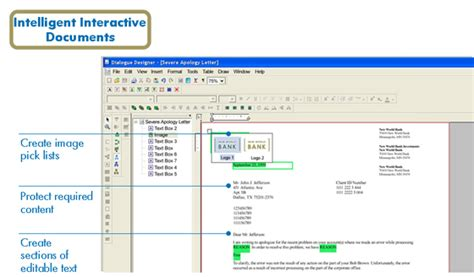 Hp Exstream Documentation create using drag and drop and other visual controls