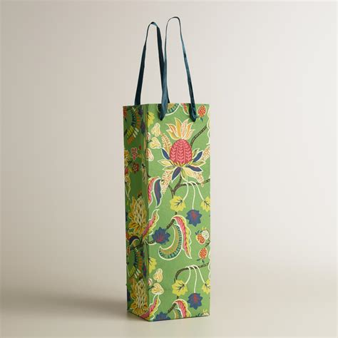 Handmade Wine Bags - green henry floral handmade wine bag world market