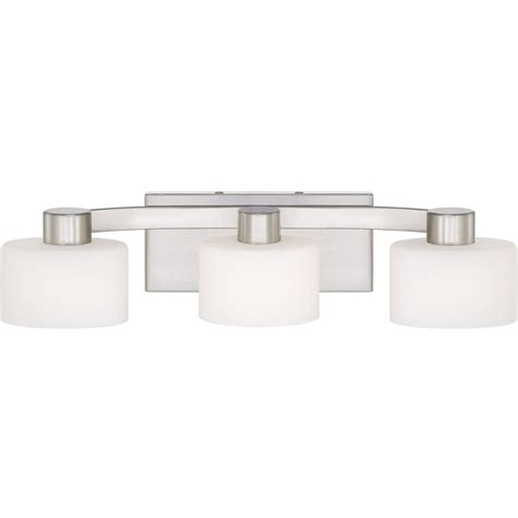 brushed nickel bathroom light fixtures quoizel tu8603bn tatum 3 light bath fixture