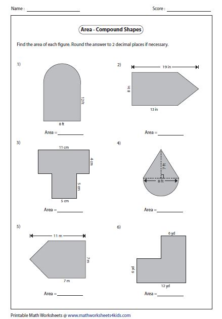 Area Compound Shapes Worksheet Answers by Area Worksheets