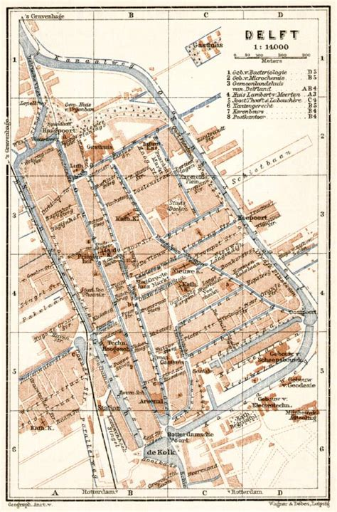 netherlands map delft map of delft in 1909 buy vintage map replica poster