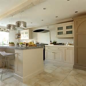 Cream shaker kitchen with modern pendants kitchen decorating ideas