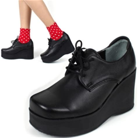 womens oxford wedge shoes womens high platform wedge lace up ankle oxford rock chic