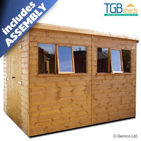 tgb heavy duty pent storm shed assembled