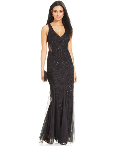 black beaded gown lyst papell sleeveless beaded mermaid gown in black