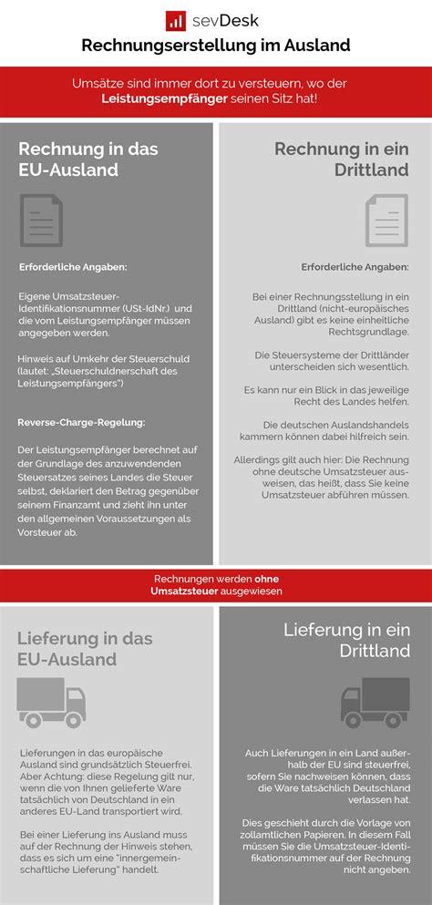 Rechnung Schweiz Lieferung Deutschland Umsatzsteuer rechnungsstellung ins eu ausland drittl 228 nder darauf