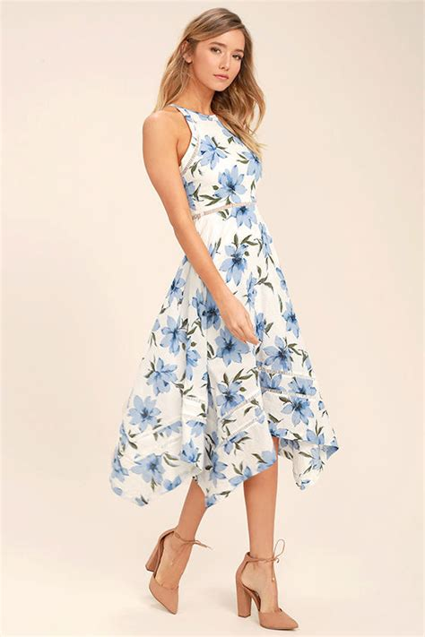Blue Flowers Print Cocktail Dress lovely blue and white dress floral print dress floral