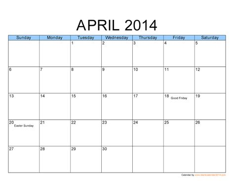Calendar April 2014 Free Printable Calendar Free Printable Calendar April