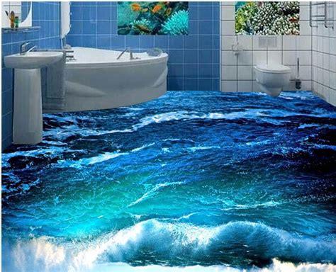 custom photo floor wallpaper  stereoscopic  ocean