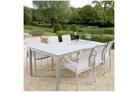 table de jardin en verre table de jardin carr 233 e en aluminium et verre d 233 poli la galerie du teck