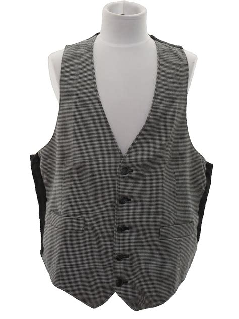 black and white pattern vest retro seventies suit 70s no label mens black and white