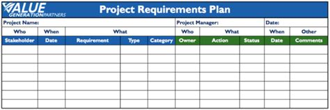 Project Management Page 2 Value Generation Partners Vblog Project Requirements Document Template