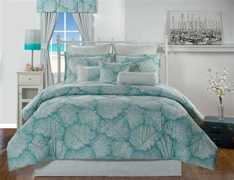 coastal bedding set tybee island ocean coral turquoise coastal beach bedding