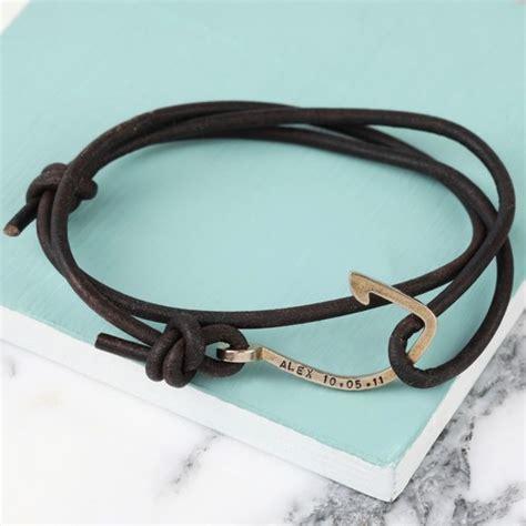 mens personalised brown leather bracelet personalised s brown leather cord and hook bracelet