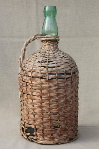 shabby vintage basket covered bottles lot   green