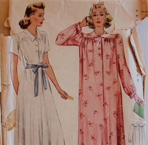 dress pattern nightdress vintage 1940s mccalls womens misses house dress nightgown