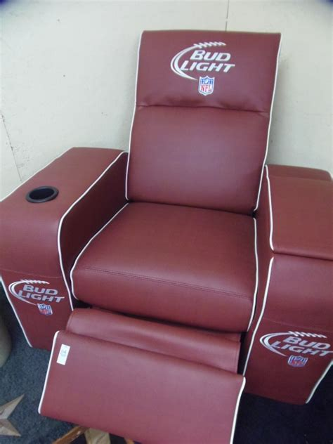 recliner with cooler in armrest bud light football recliner w cooler in arm rest