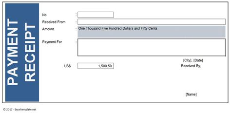 template of paid receipt payment receipt excel templates