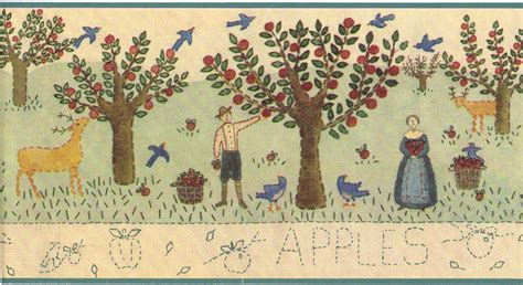 country kitchen wallpaper border primitive vintage and apple orchard apples country vintage primitive folk art