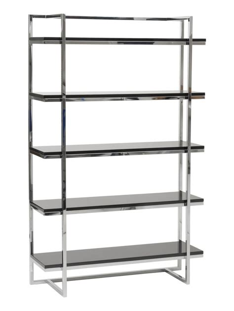 chrome bookshelves ontario 5 shelf bookcase black chrome warm masculine apartment p