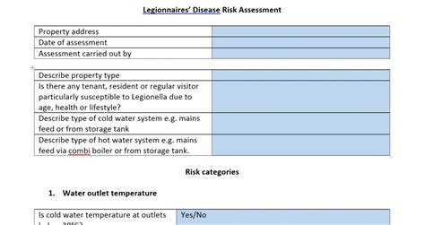 Risk Assessment Newark Nottinghamshire Properties Legionella Risk Assessment Template