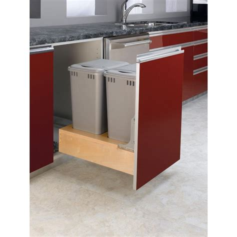 double 35 qt top mount wood pull out trash containers rev rev a shelf 17 875 in h x 15 in w x 24 5 in d double 35