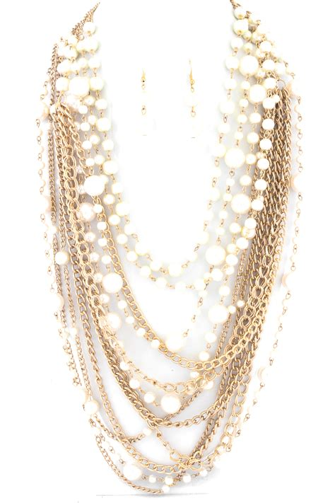 Pearl Layered Necklace layered pearl and chain necklace set necklaces