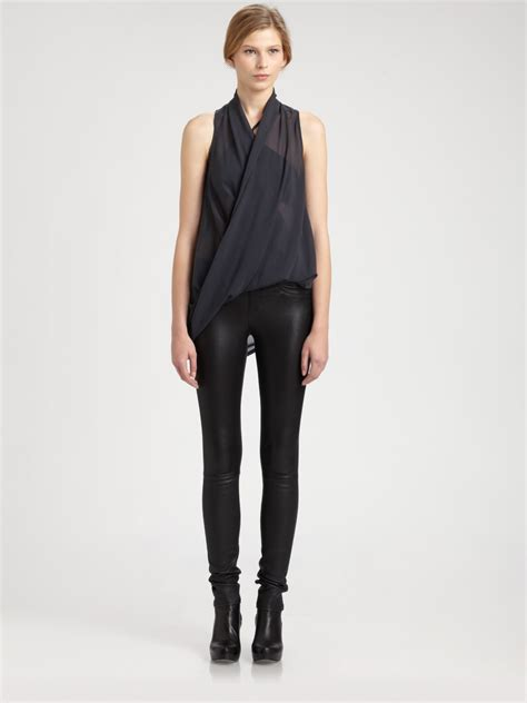 helmut lang draped top helmut lang lyra draped top in black sapphire lyst