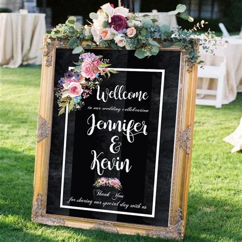 wedding ceremony welcome sign wedding signs wedding welcome sign chalkboard flowers wall