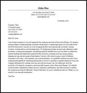Professional Warehouse Associate Cover Letter Sample