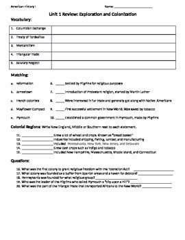 Reasons For European Exploration And Colonization Worksheet Answers