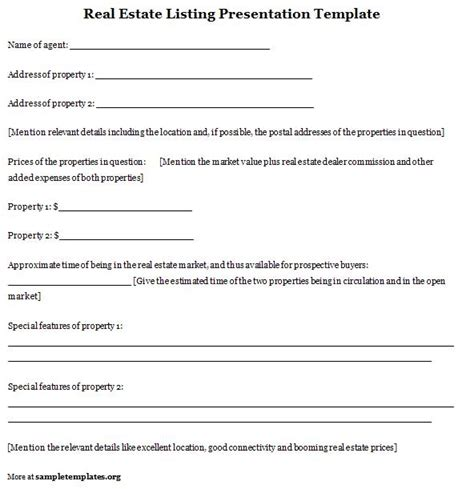 Presentation Template For Real Estate Listing Sle Of Listing Presentation Template Free