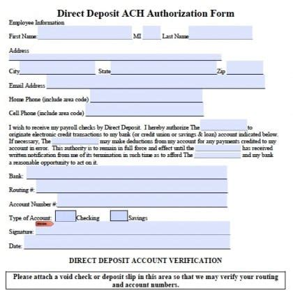 5 Generic Direct Deposit Form Templates Formats Exles In Word Excel Direct Deposit Form Template