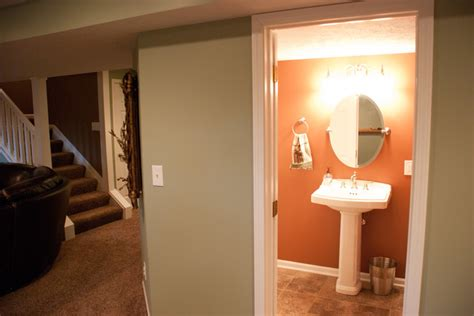 basement remodel before and after traditional