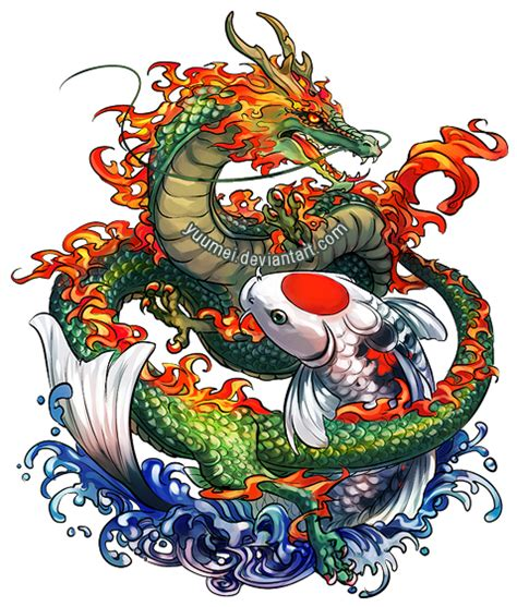 tattoo galleries dragon koi dragon and koi commssion by yuumei on deviantart