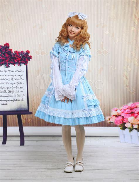 Dress Cotton Sweet Blue D203c3 blue cross lace cotton sweet dress milanoo