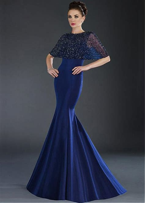 design gaun prom night royal blue mermaid long prom dresses 2017 with beaded cape