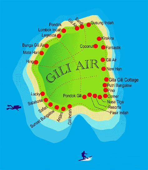 chili tattoo gili air map of gili air hotels bungalows boutique resorts etc