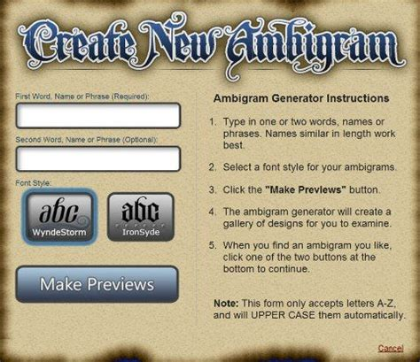 tattoo design generator the ambigram generator pinteres