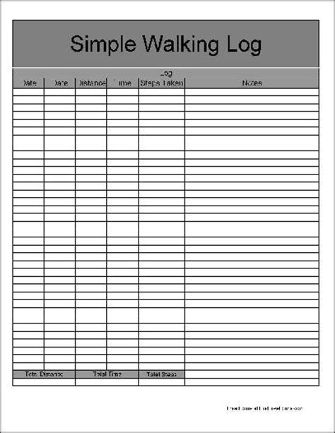 printable walking logs calendar template 2016
