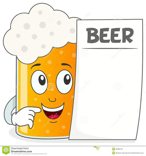funny beer cartoon beer glass character holding menu stock vector image