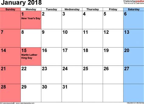 calendar january 2018 free printable calendar com